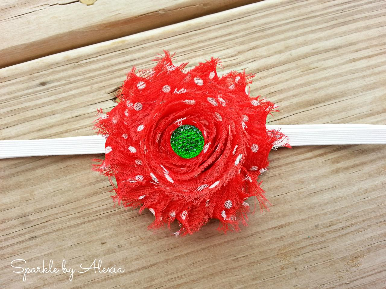 Red and Green Christmas Shabby Flower Stretch Headband